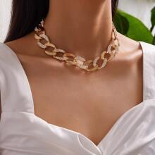 Halskette mit Strass und Kette 1 Stueck