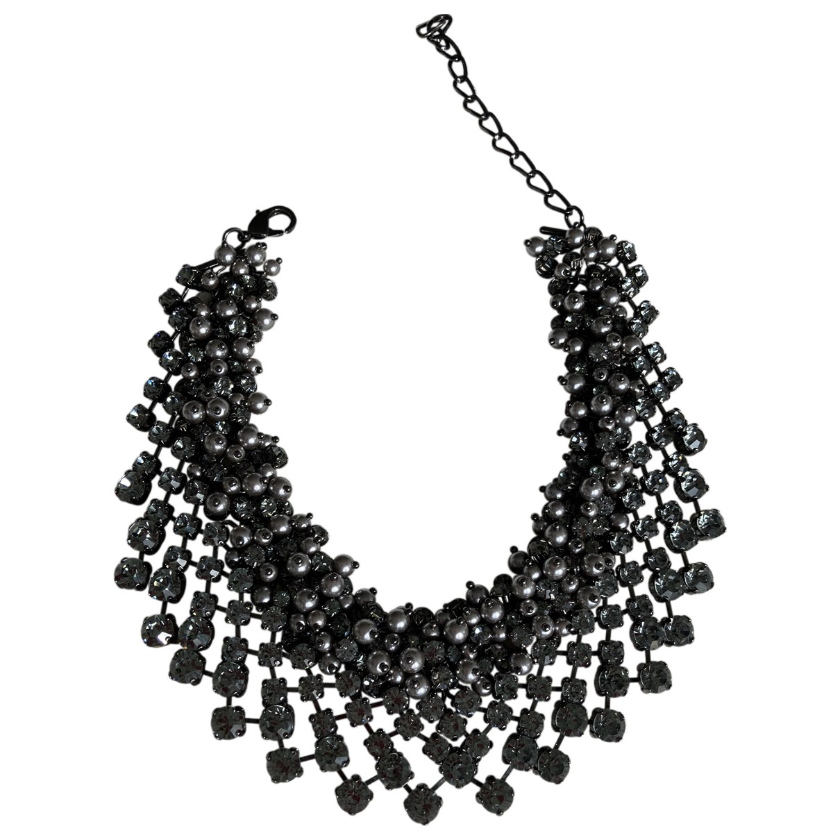 Non Signé / Unsigned N Grey Metal Long necklace for Women N