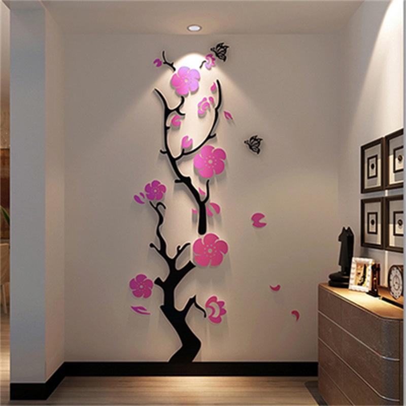 Plum Blossom Tree Pattern 3D Acrylic Wall Sticker