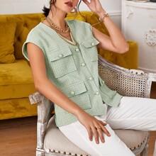 Weste Mantel mit Knopfen vorn, Taschen Klappen und Karo Muster