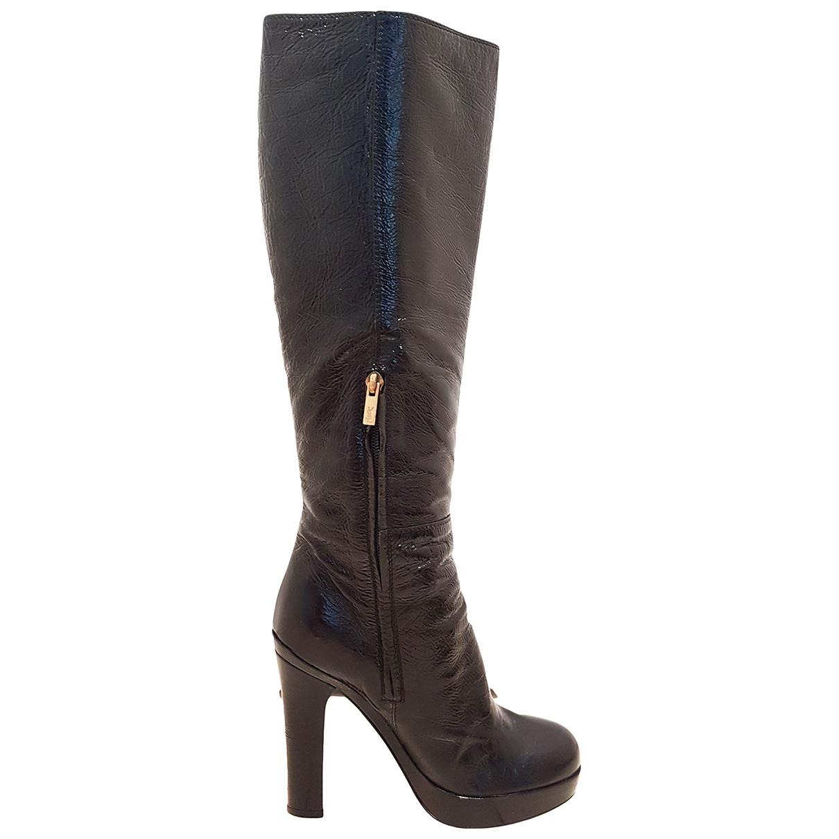 Yves Saint Laurent \N Stiefel in  Schwarz Lackleder