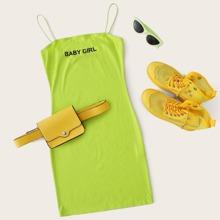 Neon Lime Cami Kleid mit Buchstaben Grafik