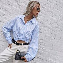 Crop Bluse mit Streifen und Twist