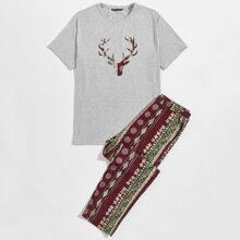 Conjunto de pijama camiseta con estampado tribal con ciervo con pantalones