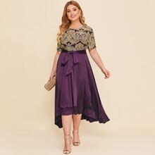 Kleid mit Farbblock, Barock Muster, Selbstband und abfallendem Saum
