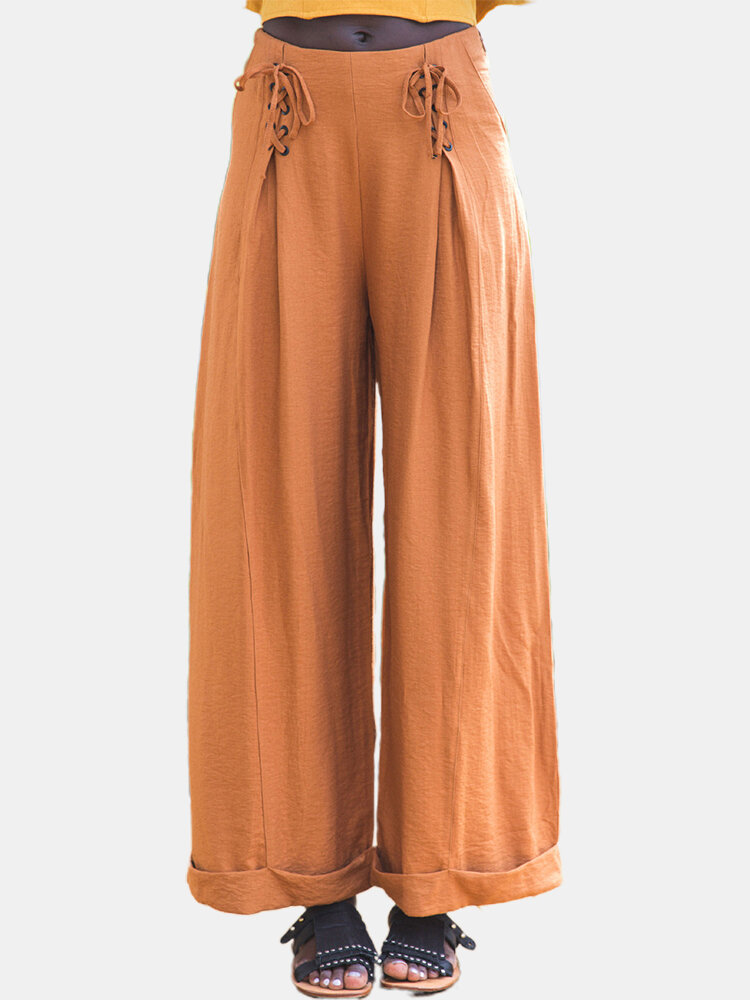Solid Color Bandage Wide Leg Casual Pants For Women