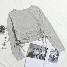 Camiseta unicolor con cordon lateral con fruncido
