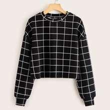 Drop Shoulder Grid Print Pullover