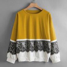 Zweifarbiges Sweatshirt mit Kontrast Spitzen