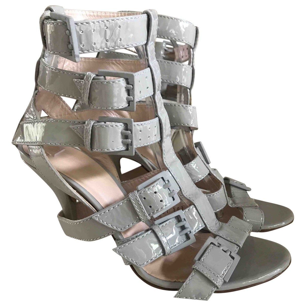 Casadei \N Grey Patent leather Sandals for Women 39.5 EU