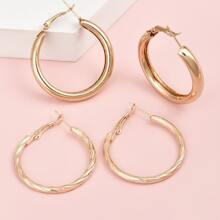 2pairs Metal Hoop Earrings
