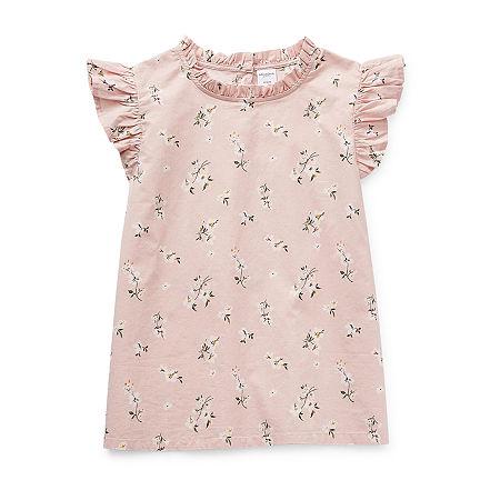 Arizona Little & Big Girls Round Neck Short Sleeve Blouse, Large (14) , Pink