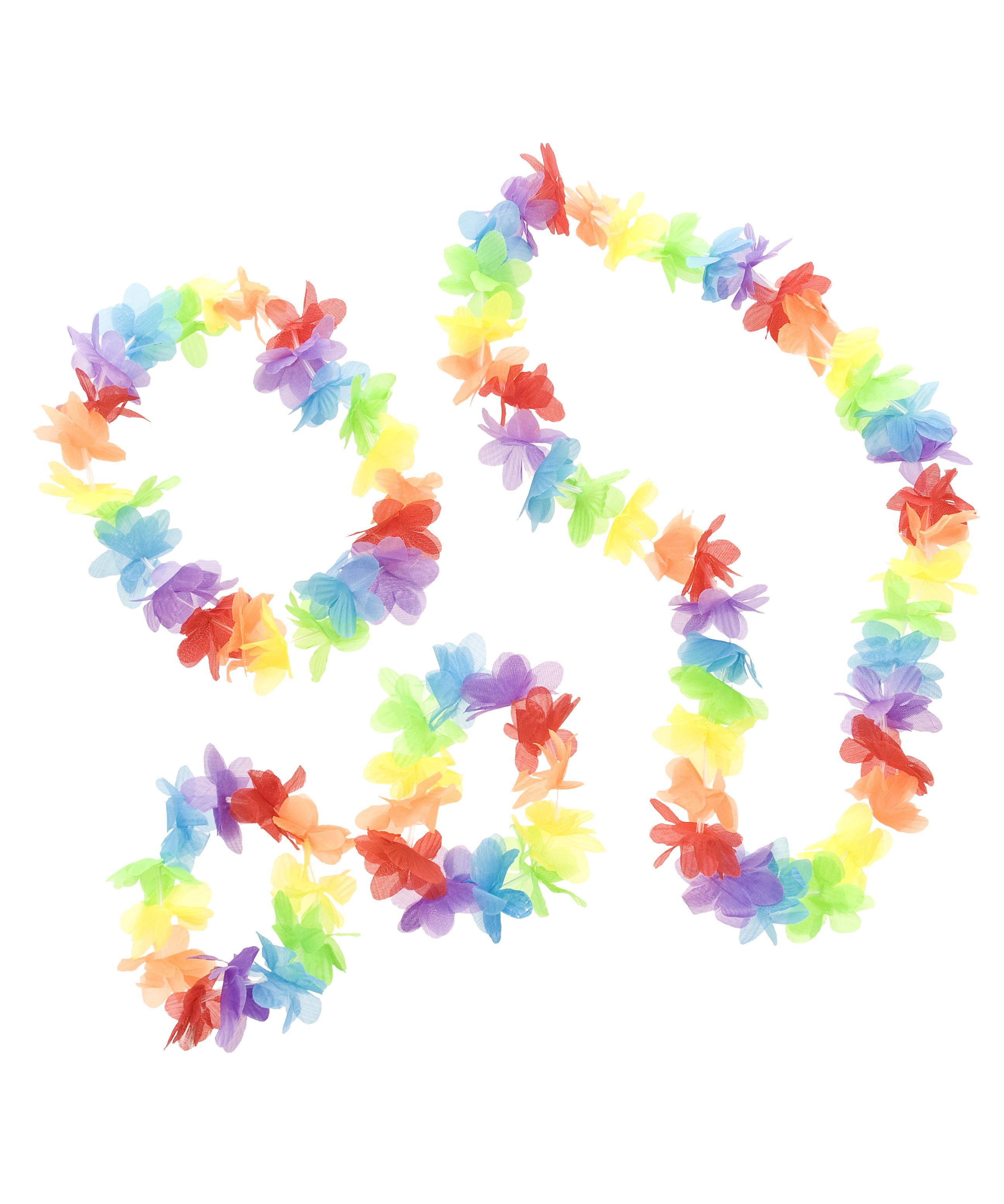 Kostuemzubehor Hawaii Set Rainbow 3-tlg.