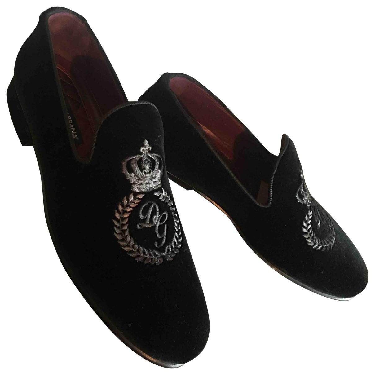 Dolce & Gabbana \N Black Velvet Flats for Men 7 UK