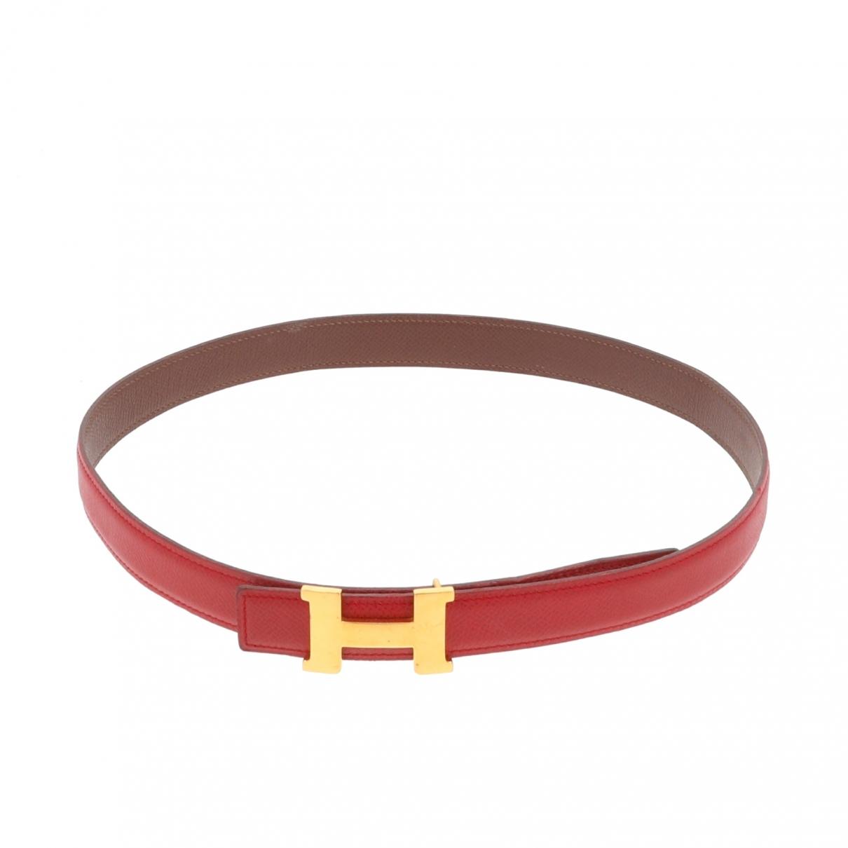 Hermès H Red Leather belt for Women 70 cm
