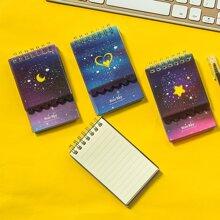 1pc Galaxy Print Random Spiral Notepad