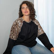 T-Shirt mit Kontrast Leopard Muster und Raglanaermeln