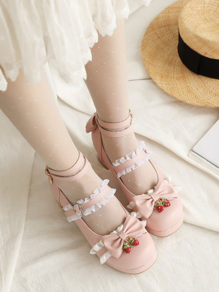 Milanoo Sweet Lolita Footwear Bows Strawberry Round Toe PU Leather Lolita Shoes