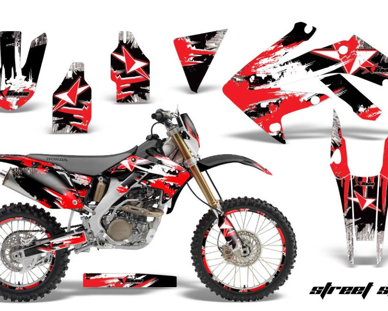 AMR Racing Graphics MX-NP-HON-CRF250X-04-17-SS R Kit Decal Sticker Wrap + # Plates For Honda CRF250X 2004-2017 STREET STAR RED