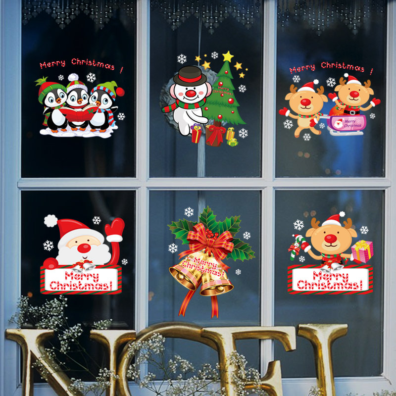 Miico SK9108 Christmas Sticker Window Cartoon Penguin Pattern Wall Stickers Removable For Room Decor