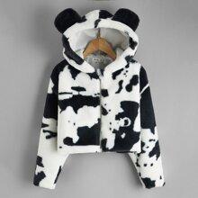 Teddy Jacke mit Baerenohr Design, Kapuze und Kuh Muster