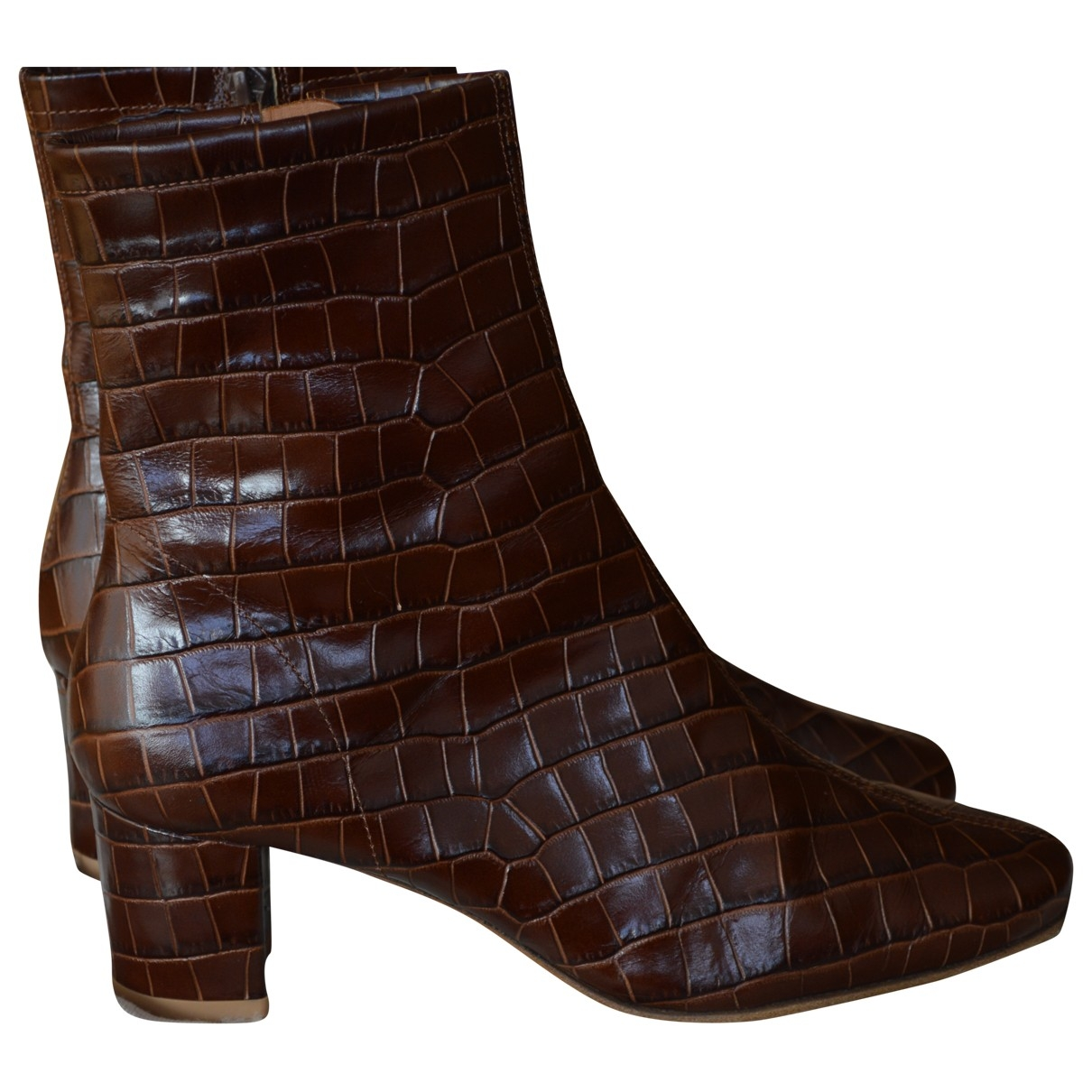 By Far \N Brown Leather Ankle boots for Women 37 EU