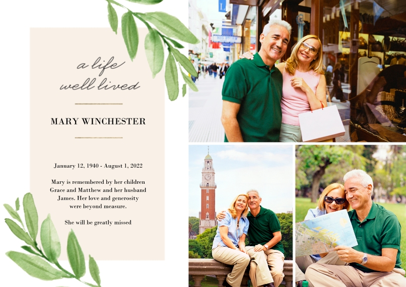 Sympathy 5x7 Cards, Premium Cardstock 120lb with Elegant Corners, Card & Stationery -Memorial Sympathy Botanical by Tumbalina