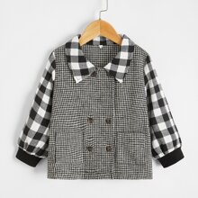 Toddler Girls Houndstooth Dual Pocket Double-breasted Overcoat