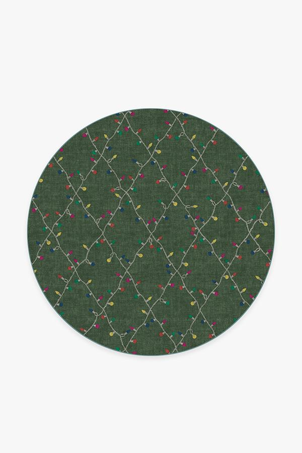 Washable Rug Cover & Pad | Holiday Lights Green Rug | Stain-Resistant | Ruggable | 6 Round