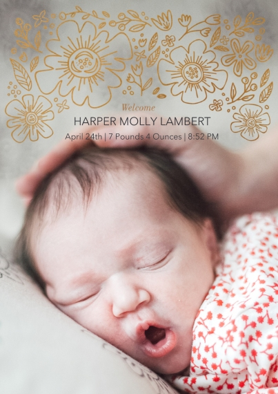 Baby Announcements 5x7 Cards, Premium Cardstock 120lb with Rounded Corners, Card & Stationery -Baby Blossoms