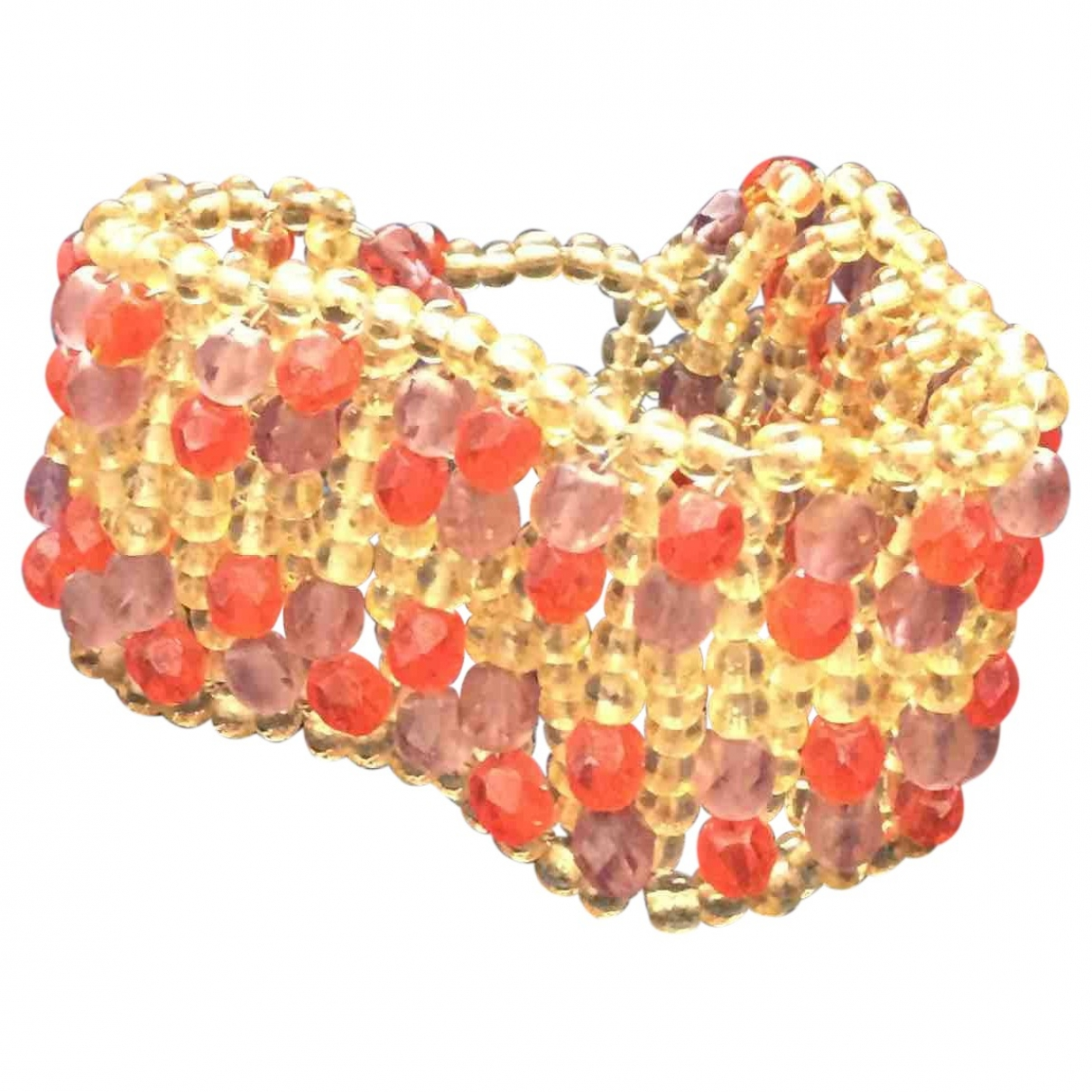Non Signé / Unsigned Manchette Orange Pearls bracelet for Women \N