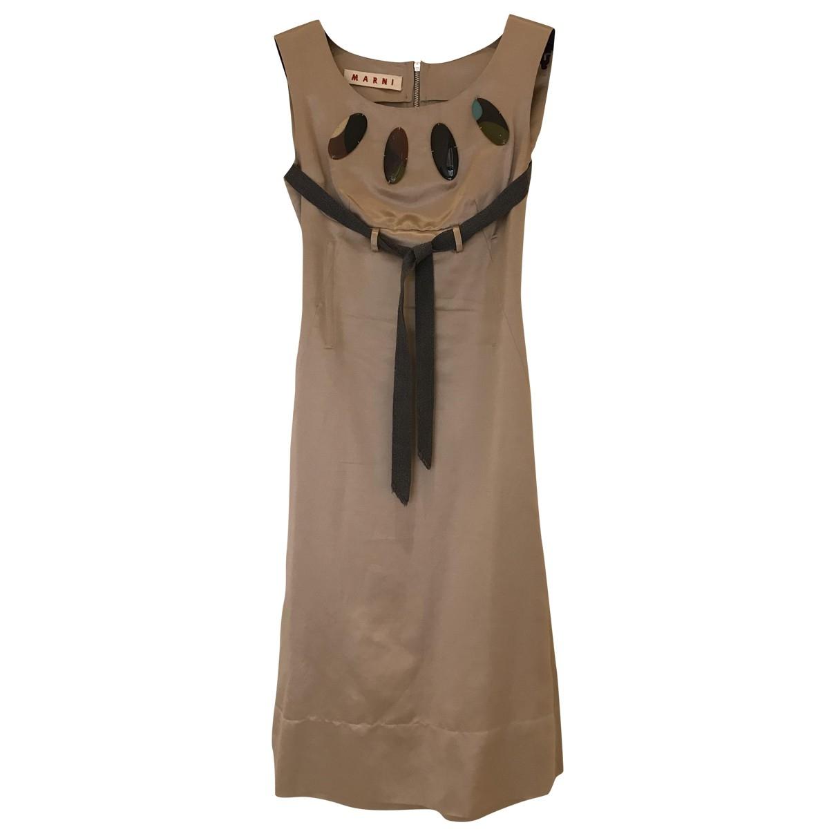 Marni \N Kleid in  Beige Baumwolle