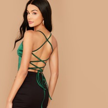 Satin Lace-Up Open-Back Cami Top