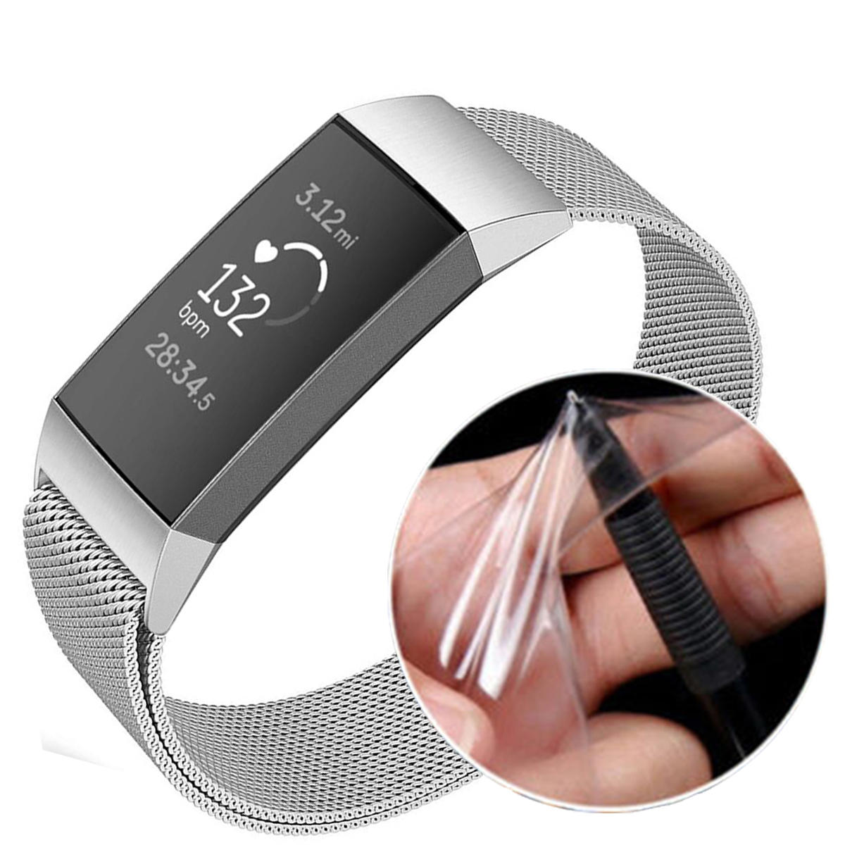 Tempered Glass Full Edge Cover TPU Watch Screen Protector for Fitbit Charge 3 Smart Watch