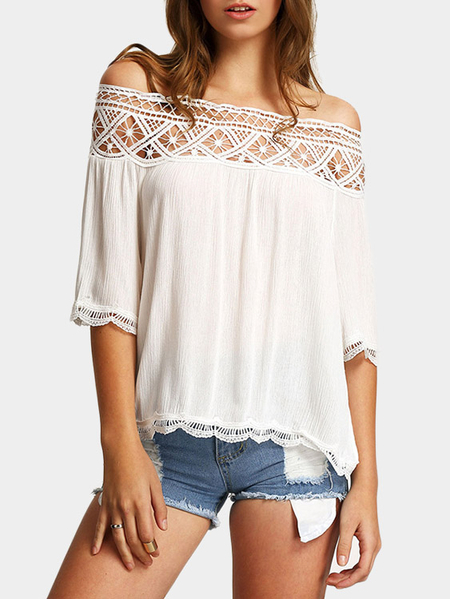 Yoins White Lace Trim Off The Shoulder Half Sleeves Top