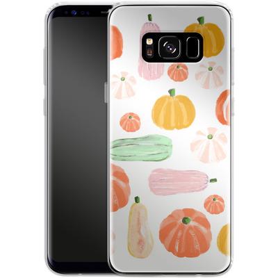 Samsung Galaxy S8 Silikon Handyhuelle - Pumpkin Pattern White von Mukta Lata Barua