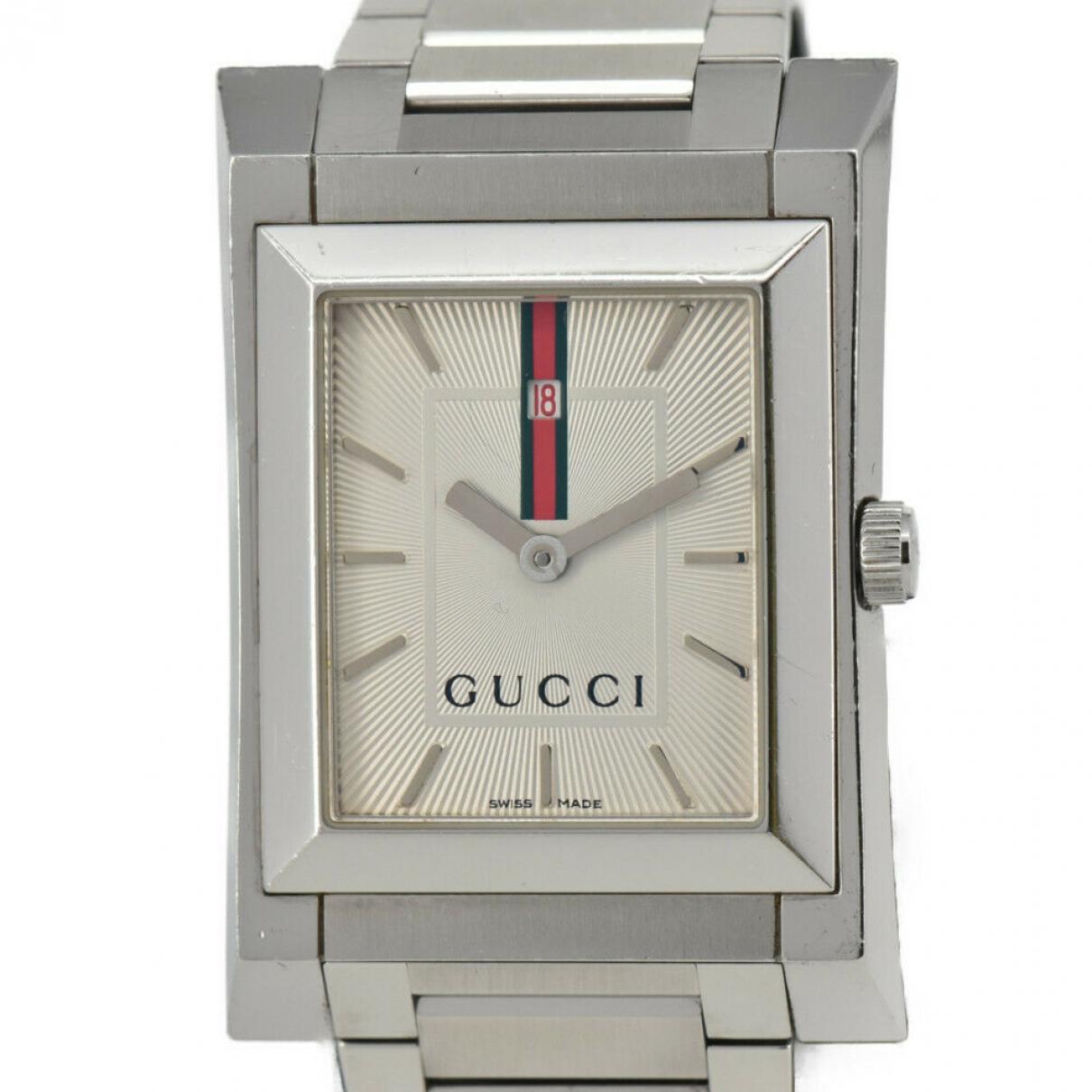 Gucci - Montre   pour homme en acier - argente
