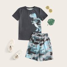 Boys Dinosaur Print Top & Camo Shorts Set