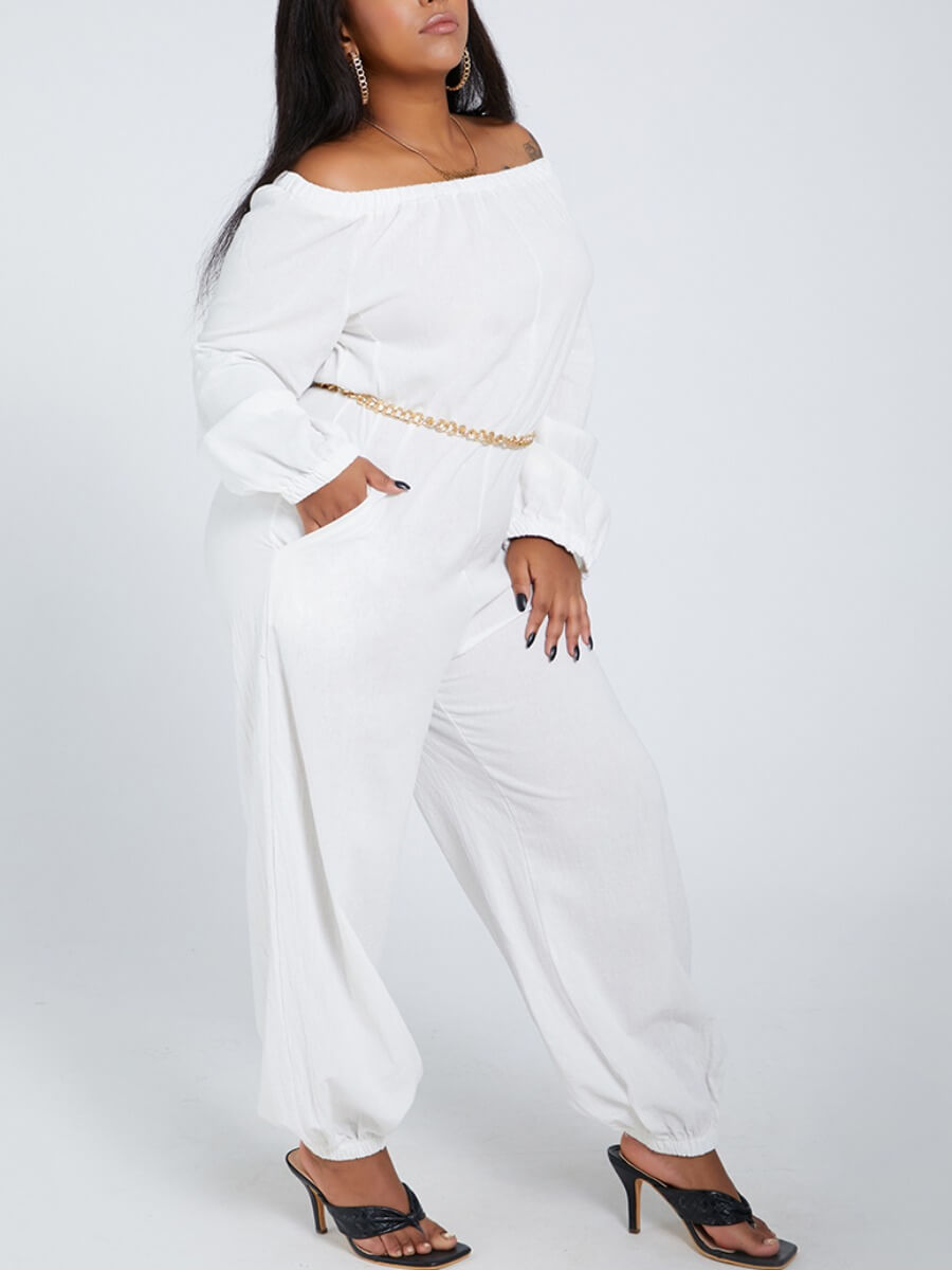 LW Lovely Leisure Loose White Plus Size One-piece Jumpsuit(Without Waist Chain