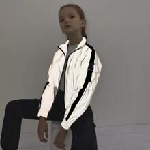 Girls Buckle Detail Flap Pocket Reflective Windbreaker Jacket