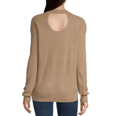 Almost Famous-Juniors Womens Crew Neck Long Sleeve Pullover Sweater, Small , Yellow
