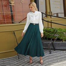 Solid Elastic Waist Pleated Skirt