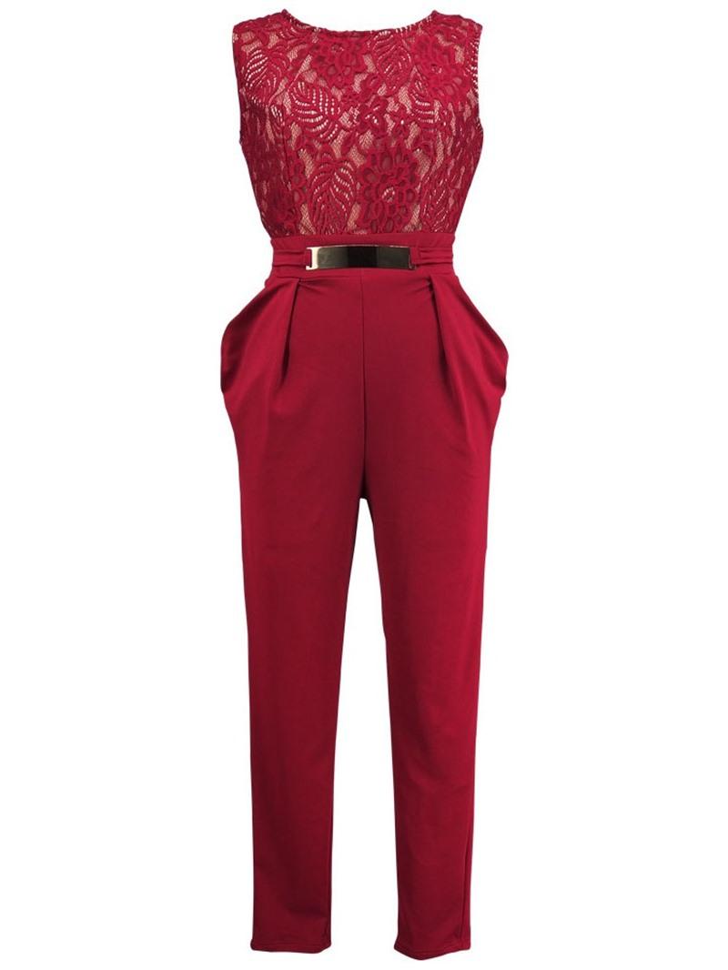 Ericdress Office Lady Lace Dressy Plain Slim Jumpsuit(Without Belt)
