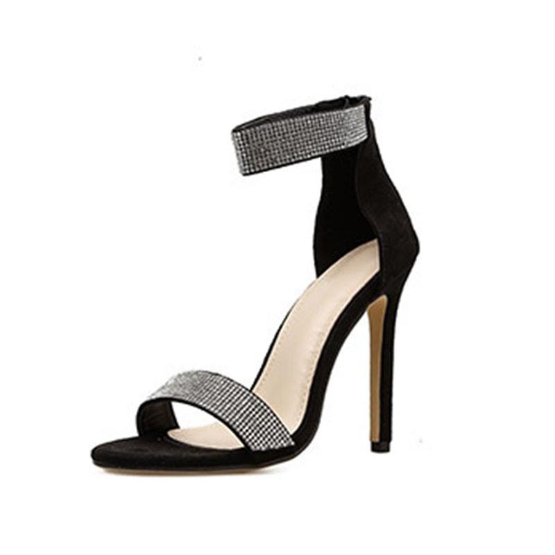 Ericdress Open Toe Covering Stiletto Heel Rhinestone Sandals