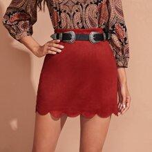 Scallop Hem Skirt Without Belt