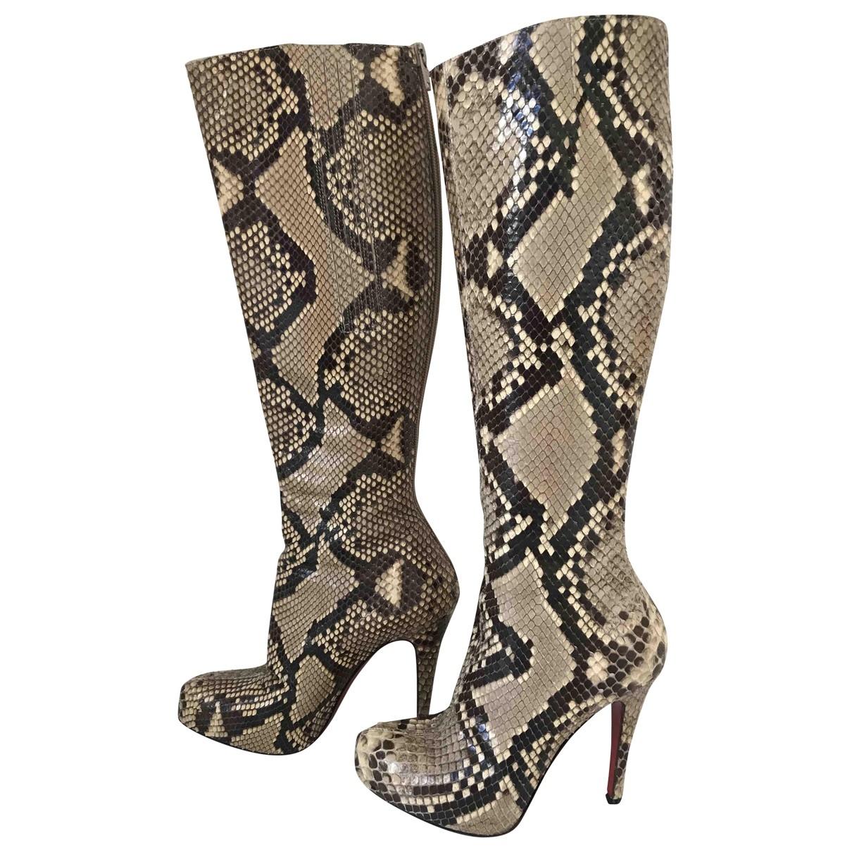 Christian Louboutin - Bottes   pour femme en python - beige