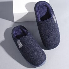 Men Letter Patch Fluffy Slippers