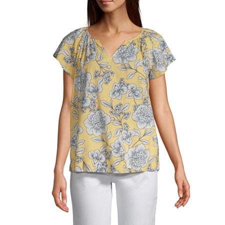 St. John's Bay Womens Split Neck Flutter Sleeve Blouse, Small , Yellow
