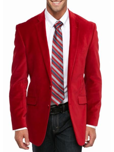 Cheap Big/Tall Blazers Clearance Velvet Velour Blazer/Sport Coat Red