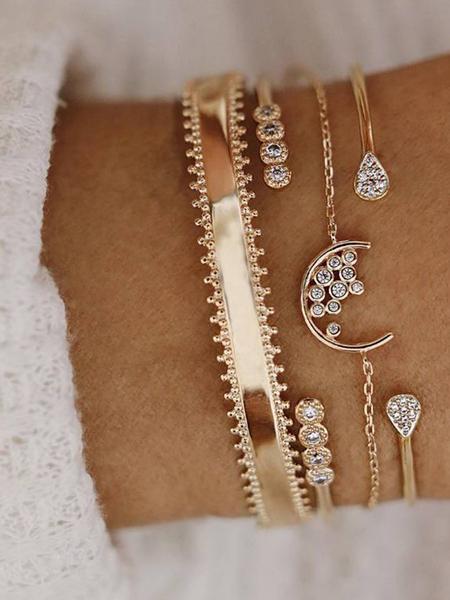 Yoins Gold Diamond Detail Four-piece Suit Hoop Bracelet